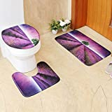 3 Piece Bath Mat by Vibola Bathroom Non-Slip Scene Print Pedestal Rug + Lid Toilet Cover + Bath Mat 45/75CM (Purple)