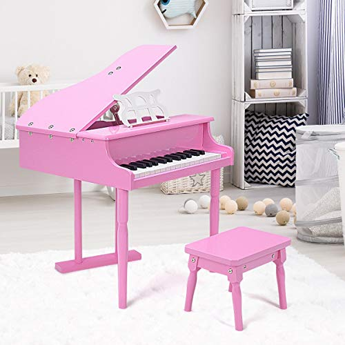 Lek Store Pink 30-Key Children Grand Piano with Bench Child Musical Instrument Hobbies Educational Music Art Home Toys Games, Pianino, House, Hobby, Girl, Kids, Gift, Present, Indoor, Wooden from Lek Store