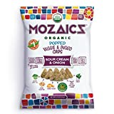 Mozaics Organic Popped Veggie & Potato Chips- Healthy snack, under 100 calories, better than veggie straws or stix – gluten free – 0.75oz single serve bags (Sour Cream & Onion, 12-count)