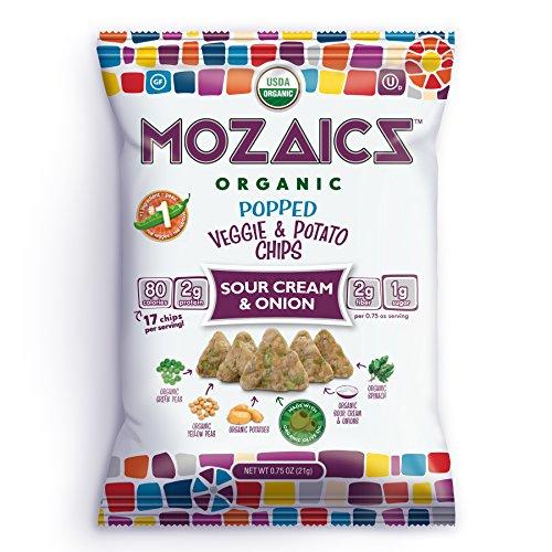 Mozaics Organic Popped Veggie & Potato Chips, 0.75oz Snack Bags (Sour Cream & Onion, 24-pack) (Sour Cream Glass)