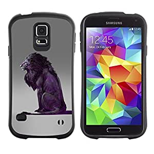 "Pulsar iFace Series Tpu silicona Carcasa Funda Case para Samsung Galaxy S5 , León Púrpura Gris Rey naturaleza animal"""