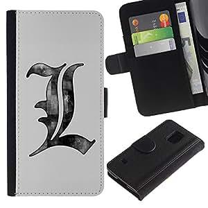 SAMSUNG Galaxy S5 V / i9600 / SM-G900 , la tarjeta de Crédito Slots PU Funda de cuero Monedero caso cubierta de piel ( Drawing Pencil Art Letters Grey White)