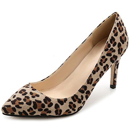 fereshte Women's Fabric Classic Slip on Dress Stiletto Pumps with Multi Colors Leopard NiwKNse