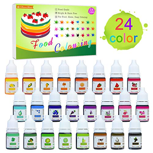 Neon Food Coloring (24 Color Food Coloring - Concentrated Liquid Cake Food Coloring Set for Baking, Decorating, Icing and Cooking - Rainbow Food Colors Dye for Slime Making and DIY Crafts - .25)