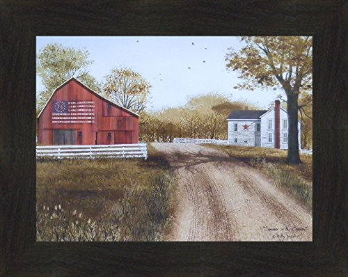 (Home Cabin Décor Summer in The Country by Billy Jacobs 16x20 Patriotic 1976 Bicentennial Flag Barn Farm Primitive Folk Art Framed Picture (2