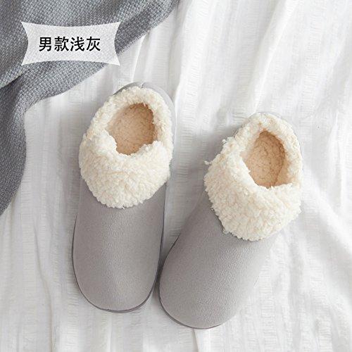 Home fankou cotone pantofole donna coppia inverno spessa coperta, antiscivolo pantofole caldi uomini e ,37-38, caffè di luce
