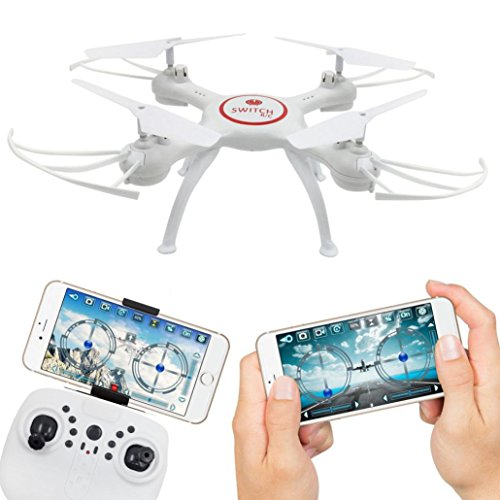 Leewa@ X5UW 4CH 6-Axis FPV RC Quadcopter Wifi Camera Real Time Video 2 Control Modes with 2.0 MP HD Camera/360 Degree/One-key Taking Off/Landing Functions (White) by Leewa