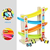 Leoy88 Boy and Girl Gifts Wooden Race Track Car Ramp Racer with 4 Mini Cars Toddler Toy