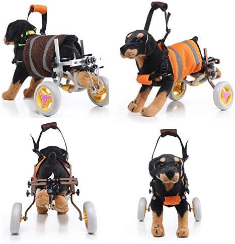 犬用車椅子のアップグレード 腹部ベルトを備えた後脚用のペットホイール、大型犬および小型犬用のペット脚トレーニング全般,ブラウン