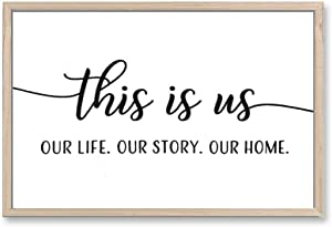 Mokof This is Us Sign, Rustic Wood Wall Sign for Home Decor, 17x12 (Framed)