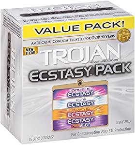Trojan Ecstasy Pack Lubricated Condoms, 26 Count