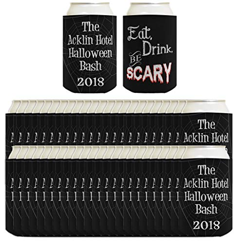 Punny Gifts Eat Drink Be Scary Custom Text 48-pack Customized Can Coolie Drink Coolers Coolies Black -