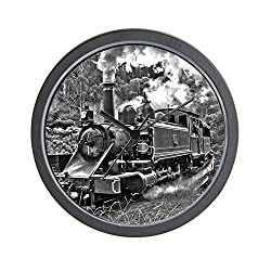 CafePress Black and White Vintage Steam Train Engine Wall Cl Unique Decorative 10 Wall Clock