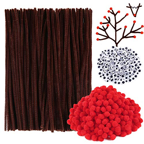 Caydo 1000 Pcs Christmas Pipe Cleaners Set Include Brown Craft Chenille Stems, Red Pompoms and Wiggle Eyes for Craft and Art DIY Decoration (Brown Red Art)