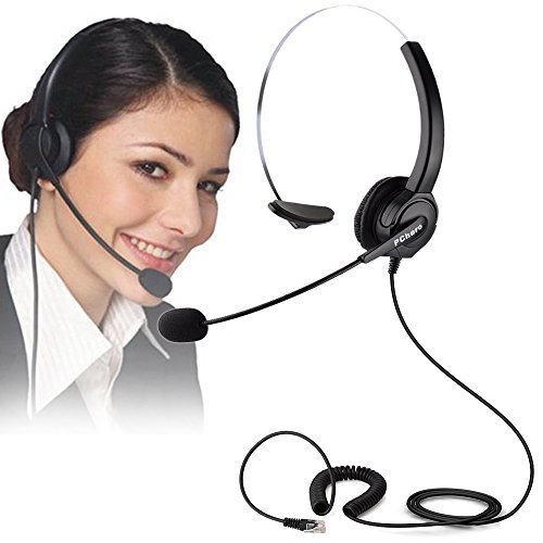 Telephone Headset, PChero RJ9 Noise Cancelling Headset with Mic for Call Center, Desk Telephone, Perfect for Phone sales, Insurance, Hospitals, Telecom operators - [Monaural] by PChero