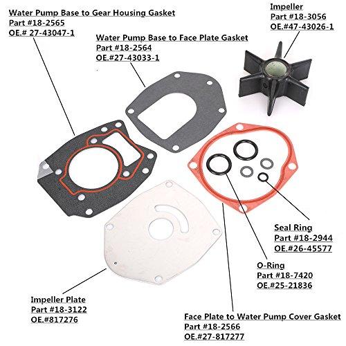 KONDUONE 18-3214 Water Pump Impeller Repair Kit for Chrysler Force Honda MerCruiser Mariner Mercury Marine Engines 40-250 HP Alpha 1 - GEN 2 - EMP Replaces# 47-43026T11 47-43026Q06-3 Months Warranty -