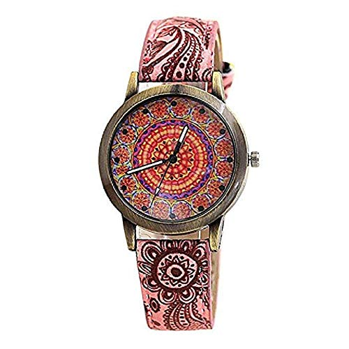 (FAVOT 2019 Women Wrist Watch National Style Blue and White Porcelain Kaleidoscope Pattern Printed Leather Strap Quartz Watch (Red))