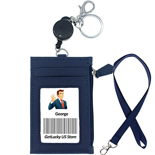 1 ID Window,1 Heavy Duty Leather Lanyard 1 Side Zipper Pocket Woogwin Leather Badge Holder with Lanyard ID Card Holder Wallet with 1 Retractable Badge Reel 4 Card Slots