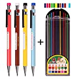 Nanoex 2.0 mm Lead Holder Pen Mechanical Pencil for Draft Drawing,Carpenter,Crafting, Art Sketching Sharpener (Pack of 4 Pencils) + (2.0mm Hb Color Lead 1 Tube 12 Leads)