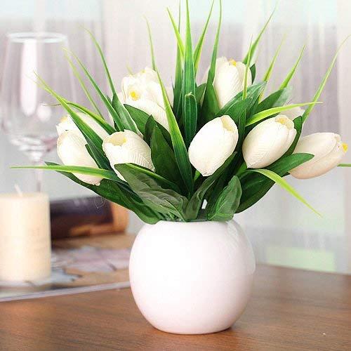 - Borijiche Artificial The Tulip Ceramic Vase Home Decorations Flowers White (Color : As Shown, Size : One Size)