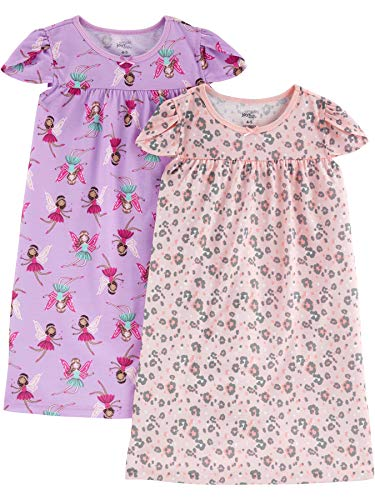 Little Girls Fairy Dresses (Simple Joys by Carter's Girls' Little Kid 2-Pack Nightgowns, Fairy/Animal Print,)