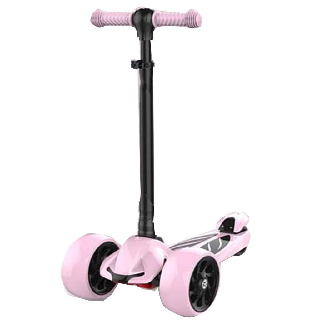 3輪キックスクーター214歳の幼児用ライトアップスクーター点滅LEDホイール折りたたみ式4高さ調整可能なスムーズな傾斜で持ち運びが簡単 B07QVNHVRJ B B