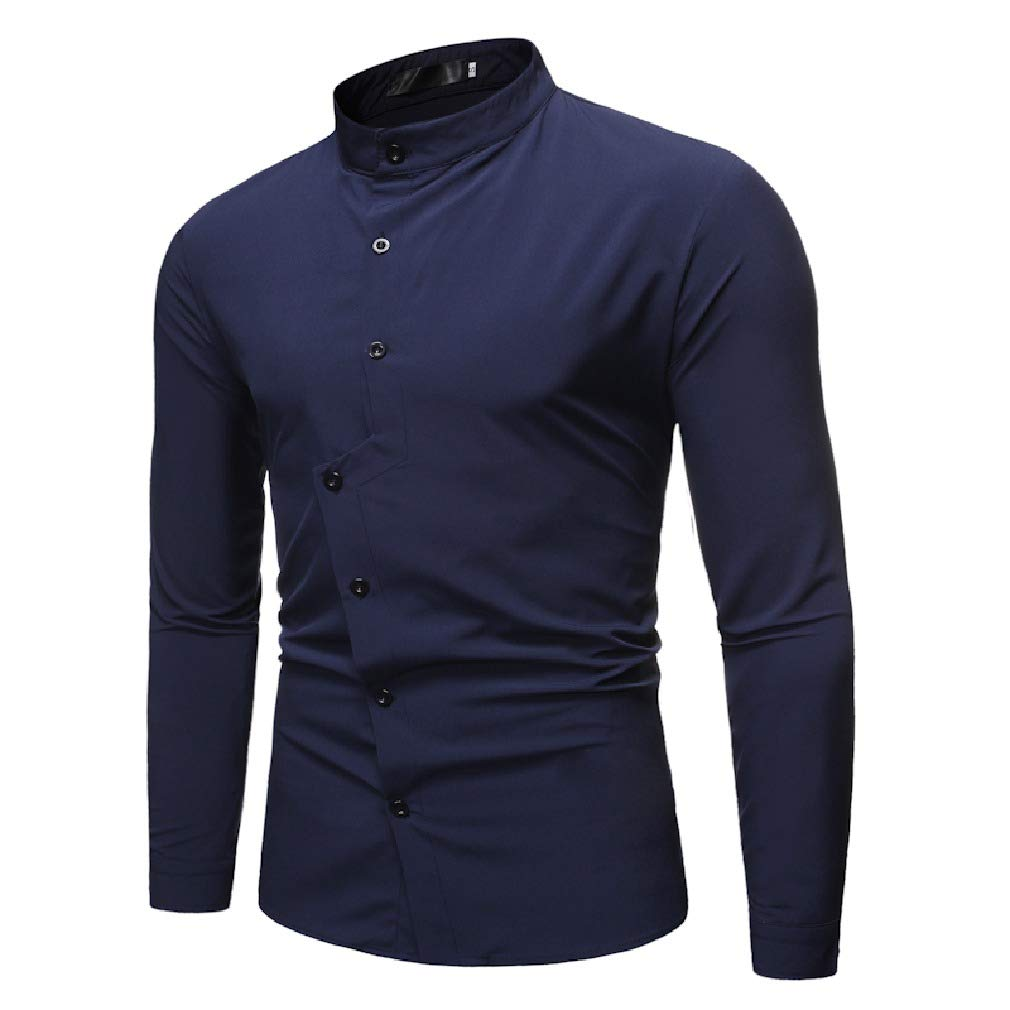 Doufine Mens Long Sleeve Solid Stand Collar Slim Fit Stylish Western Shirt