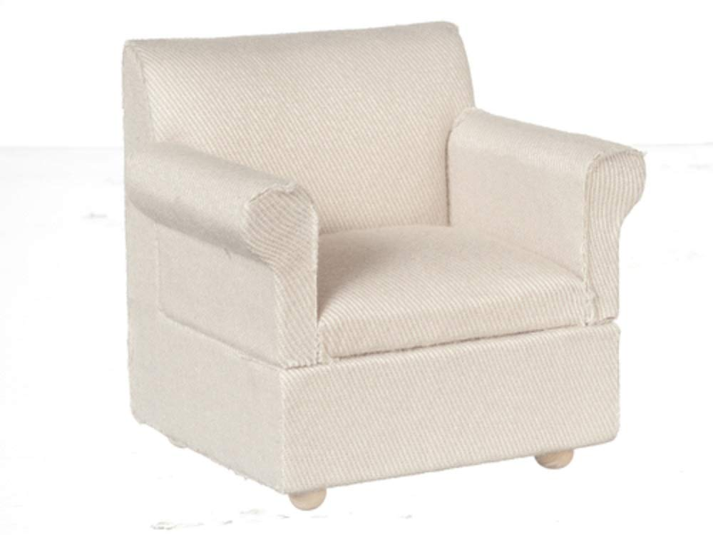 Melody Jane Dolls House Hessian Classic Modern Armchair Miniature Living Room Furniture 1:12