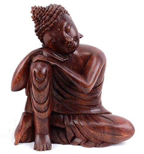 Artisanal Statua di Buddha seduto h20cm in legno massello scolpito a mano