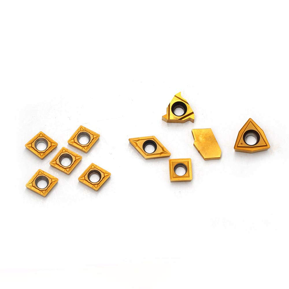 10 Pieces OSCARBIDE Carbide Turning Inserts MGMN200,11ER A60,GTN-2,WCMT2.5,CCMT060204,DCMT070204 CNC Lathe Insert for Indexable Lathe Turning Tool Holder Insert Replacement