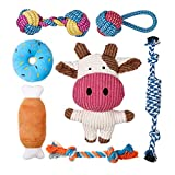 Toozey Puppy Toys for Small Dogs, 7 Pack Small Dog Toys, Cute Calf Squeaky Toys for Dogs, Durable Puppy Teething Toys, 100% Natural Cotton Ropes Chew Toys for Puppies, Non-Toxic and Safe