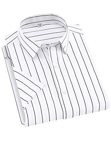 SPAREE Men's Business Short Sleeve Vertical Striped Dress Shirts (White Black, Small)