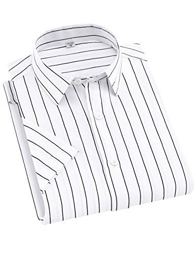 Retro White Shirt Pin (DOKKIA Men's Casual Short Sleeve Vertical Striped Button Down Dress Shirts (White Black, Medium))
