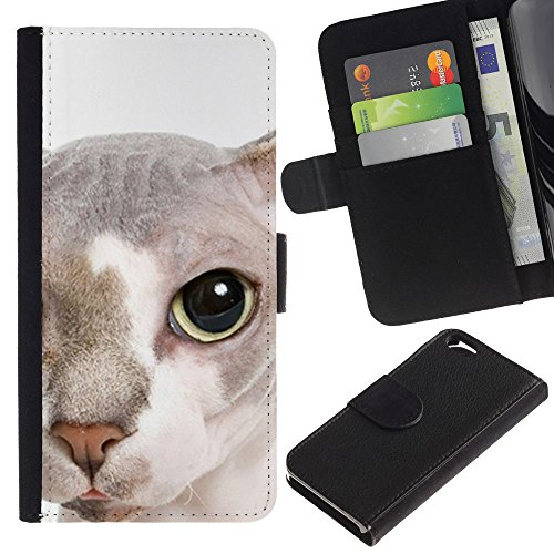 EuroCase - Apple Iphone 6 4.7 - peterbald bambino cat hairless face - Cuir PU Coverture Shell Armure Coque Coq Cas Etui Housse Case Cover