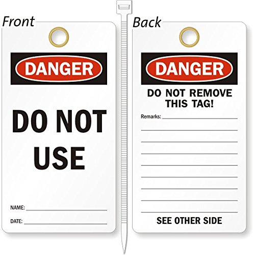 Do Not Use, Heavy Duty 15 mil thick Vinyl Tag, 25 Tags / Pack, 3.25'' x 6'' by LockoutTag
