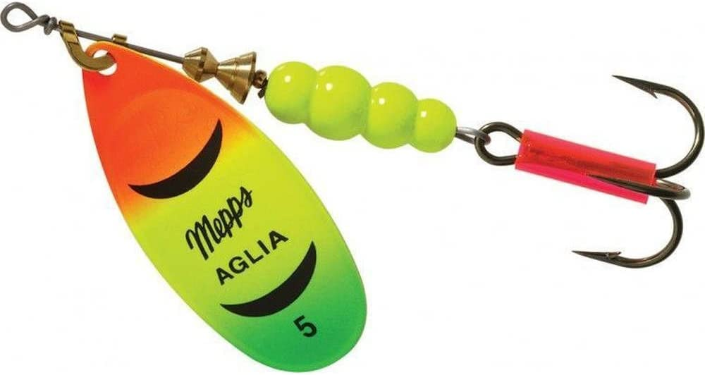 Choice of Size Mepps Aglia Hot Orange//White//Green Blade Spinner Fishing Lure