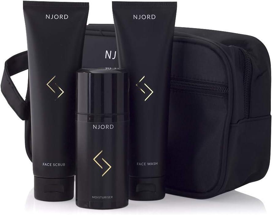 NJORD In Your Face, Kit de Cuidado Facial Hombre Idea Regalo con Gel Facial Limpiador (150 ml), Exfoliante Facial (150 ml), Crema Hidratante Facial (100 ml) y Bolsa de Aseo, 4 unidades
