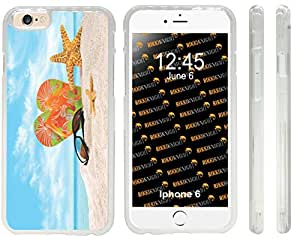 Rikki KnightTM Orange Green Flip-Flops In The Sand With Starfish Design iPhone 6 Case Cover (Clear Rubber with front bumper protection) for Apple iPhone 6