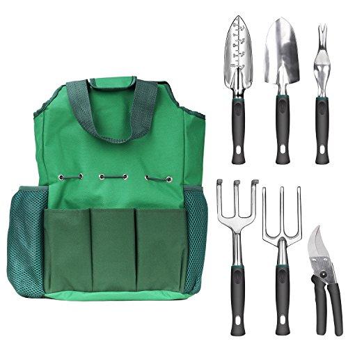 Nuovoware Garden Tools Set, 6 Piece Heavy Duty Cast-Aluminium Alloy Gardening Tools Including Transplanting Spade, Trowel, Rake, Cultivator, Weeder, Pruner with Storage Tote Bag, Dark Green Green