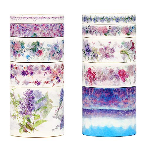 Molshine Floral Washi Masking Tape Set of 10, Spring Flower Decorative Sticky Paper Tapes for DIY Craft, Gift Wrapping, Bullet Journal, Planner, Scrapbooking (C)