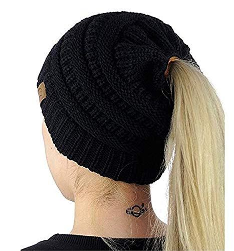 Heyuni.1PC Womens Warm Cable Knitted Messy High Bun Hat Beanie with Hole for Pony Tail Skull Cap,Black