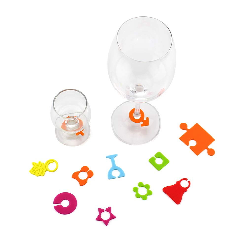BESTONZON 24pcs Silicone Wine Glass Marker Charms Drinking Glass Identifiers for Party Wine Lovers