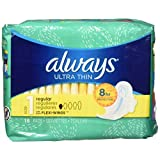 Always Ultra Thin Size 1 Regular Pads With Wings, Unscented, 18 count- Packing may vary
