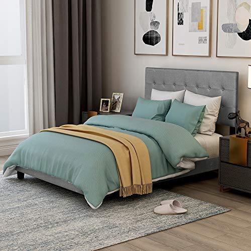 Mooseng Classics Cloth Grey Tall Headboard Platform Bed Frame Full,Wood Slat Support,Box Spring Needed, Queen, Gray