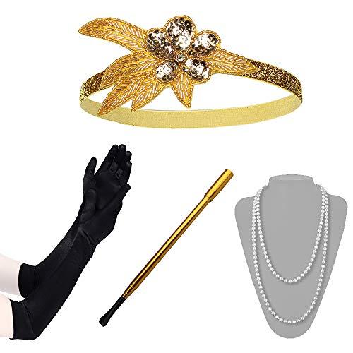 Lukovee 1920s Flapper Accessories Set Costume Headband Necklace Gloves Cigarette Holder Women -
