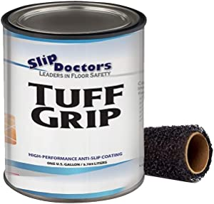 Slip Resistant Coating, Interior/Exterior, Textured to Increase Traction. Industrial Grade, High Performance - Tuff Grip (Medium Gray, Gallon)