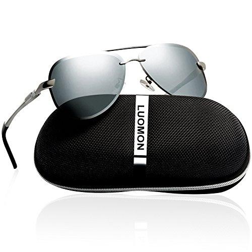LUOMON Men's Polarized Aviator Sunglasses Metal Silver Frame/Silver Mirrored Lens with Al-Mg Aloy Temple - Luomon Sunglasses