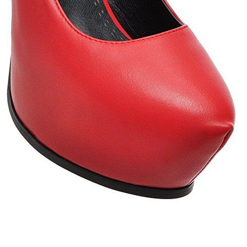AllhqFashion Mujer Sólido Material Suave Tacón Alto Sin cordones De salón Rojo
