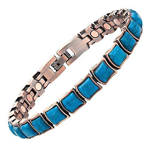 (ProExl Copper Womens Magnetic Bracelet Turquoise Stone Velino 7.5