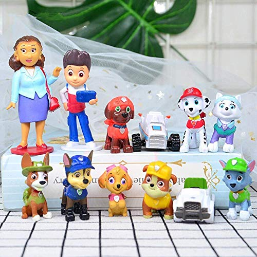 12PCS paw patrol cake topper, cup cake topper, Children mini toys and Shower Birthday party supplies -